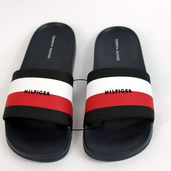 3e67bd02b370 Tommy Hilfiger Flag Logo Slides Slip On Sandals